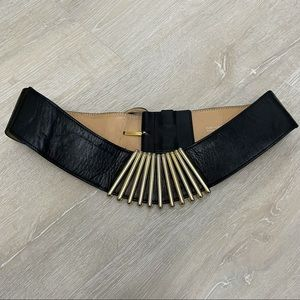 Karl Lagerfeld Black Gold Vintage 1980's Belt